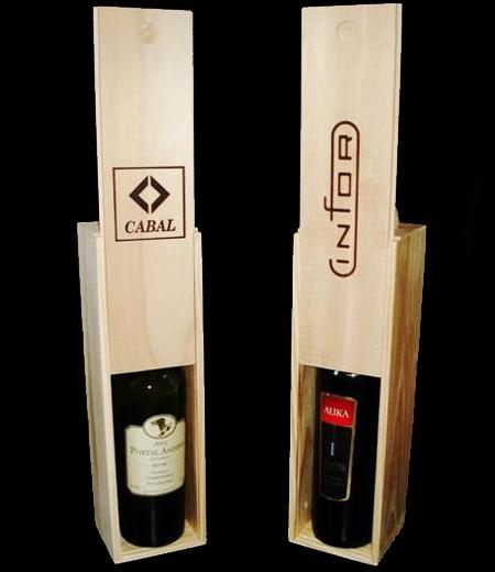 cajas de madera para vino con tapa deslizable